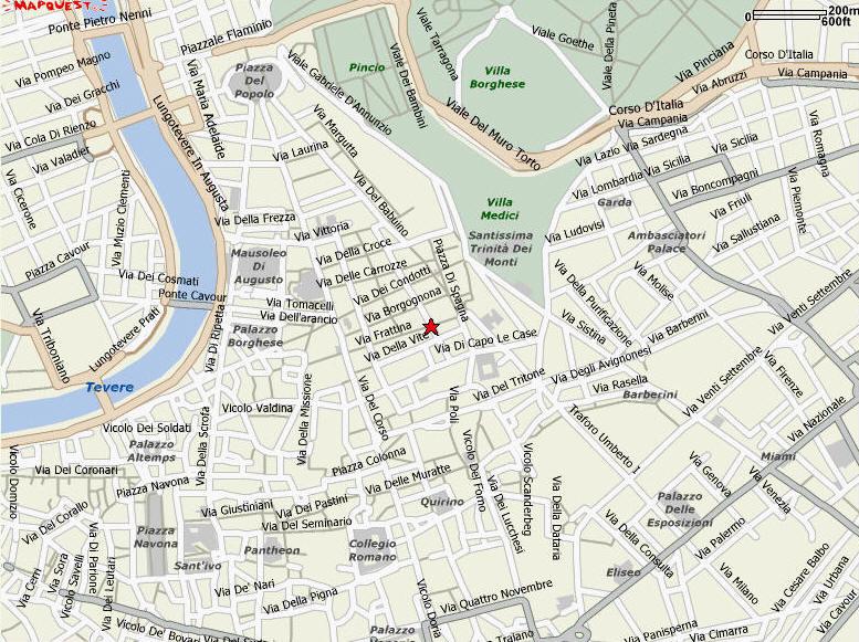 Piazza Spagna Map VisitsItaly.  Welcome to the Hotel Il Piccolo di Piazza di